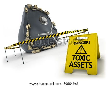 Toxic assets concept. Bank safe behind danger tape and warning sign. - stock photo