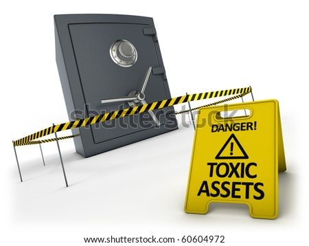 Toxic assets concept. Bank safe behind danger tape and warning sign.