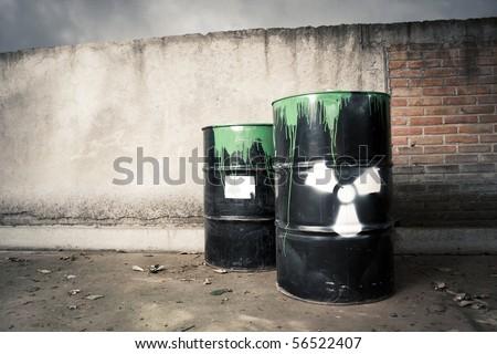 toxic drum barrel spilled it hazardous content - stock photo