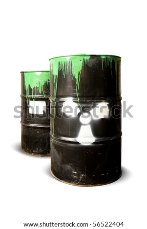 toxic drum barrels spilled their hazardous content contaminating the earth - stock photo