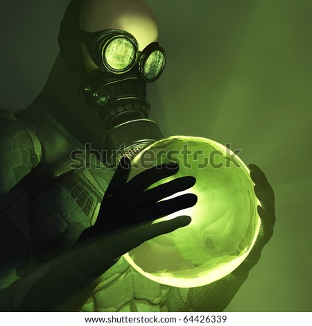 toxic energy in human hands - stock photo
