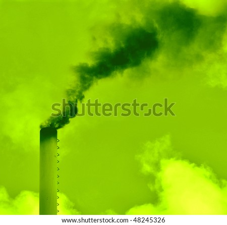 Toxic green smoke. Pollution concept. - stock photo