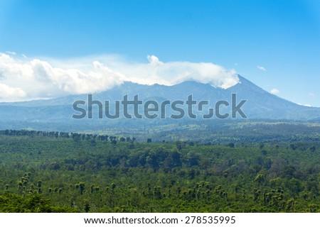toxic smoke at kawah ijen volcano, java indonesia - stock photo