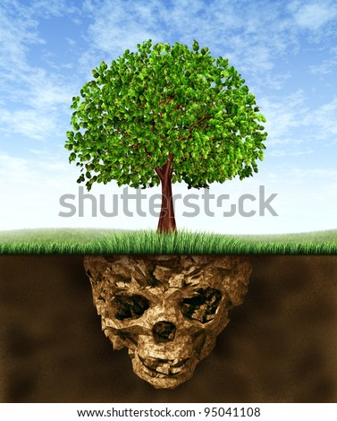 Toxic soil and environmental health risks caused by pollution in the earth hidden underground as a skeleton skull shaped earth with a green tree growing above showing the hazards of polluted nature. - stock photo