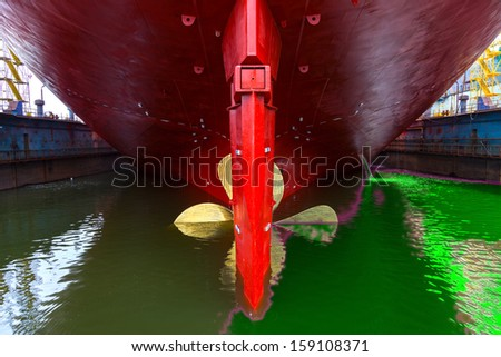 Toxic spill from the ship - Image is an artistic digital rendering. - stock photo