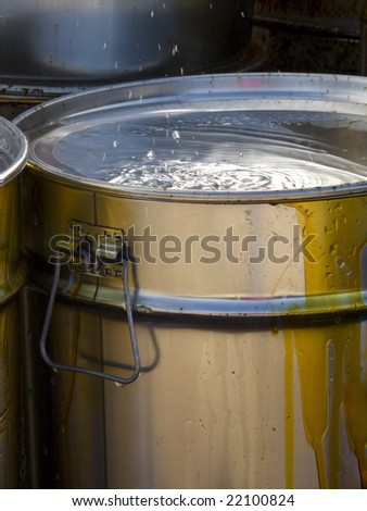 Toxic waste barrels - stock photo
