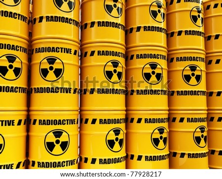 toxic waste barrels - stock photo