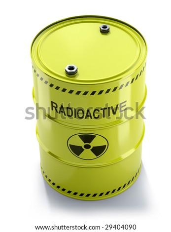 Toxic waste, radioactive barrel - stock photo