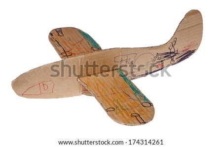 Toy airplane from cardboard isolated on white - stock photo