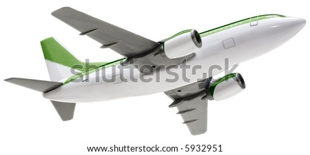 Toy Airplane - isolated on white - stock photo