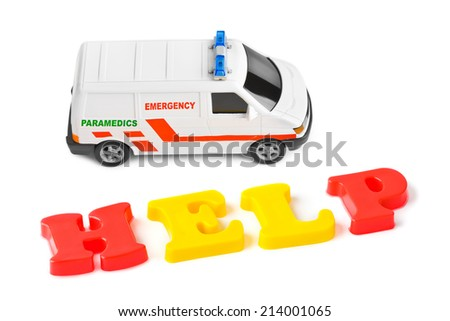 Toy ambulance car and word help isolated on white background - stock photo