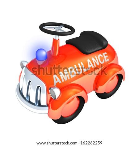 Toy ambulance, 3d rendering isolated on white background - stock photo