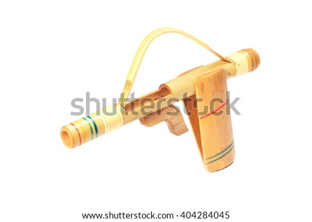 Toy bamboo gun isolate on white background    - stock photo