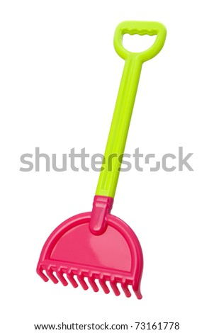 Toy Beach Rake isolated with clipping path - stock photo