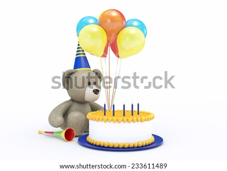 Toy Bear Celebrating its Birthday - stock photo