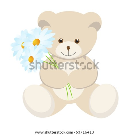 Toy bear cub with a bouquet of camomiles.