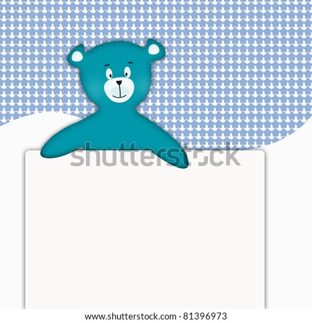 Toy bear holiding an advertisement - stock photo