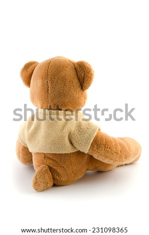 toy bear isolated on white,back view - stock photo