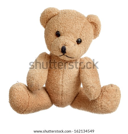 Toy bear isolated over white - stock photo