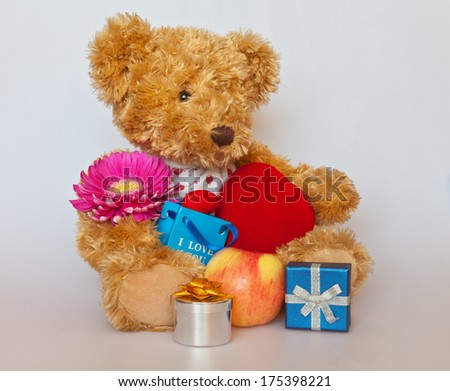Toy Bear with gifts and flower - stock photo