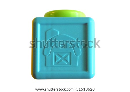 Toy block isolated on white - stock photo