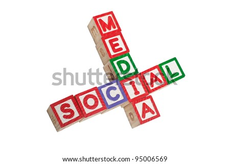 Toy blocks forming the words SOCIAL MEDIA isolated on white background - stock photo