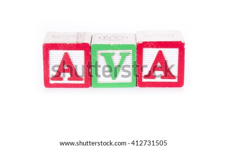 "Toy blocks spelling out the name ""AVA"""