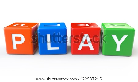 Toy Blocks with Play Sign on a White Background - stock photo