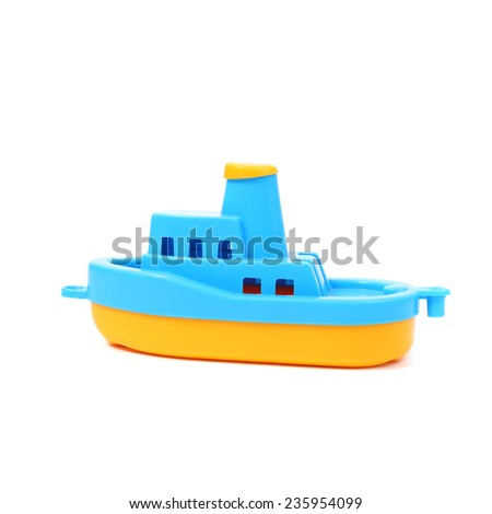 toy blue and yellow boat - stock photo