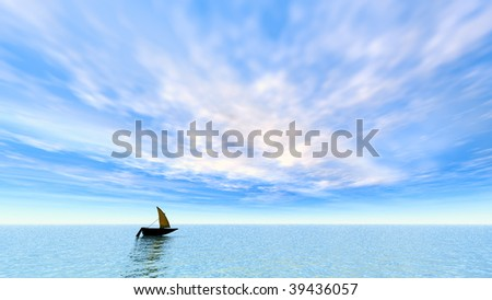 Toy boat semi silhouetted on the water with a beautiful blue sky and whimsical white clouds.