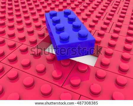 Toy bricks in red and blue colors.3d illustration.