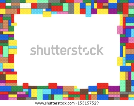 Toy Bricks Picture Frame with white background. - stock photo