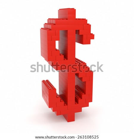 Toy bricks red dollar sign over a white background. Part of a series. - stock photo