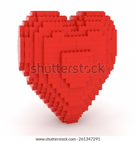 Toy bricks red heart over a white background. Part of a series. - stock photo