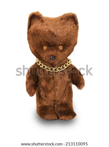 Toy brown bear isolated on white background