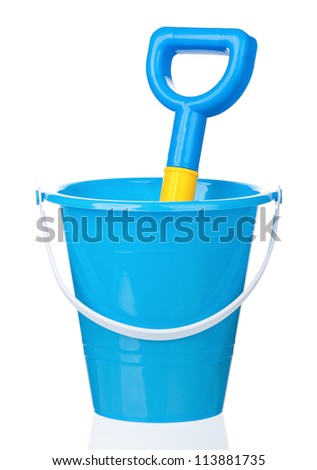Toy bucket and spade isolated on white background - stock photo