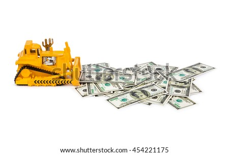 Toy bulldozer and money isolated on white background - stock photo