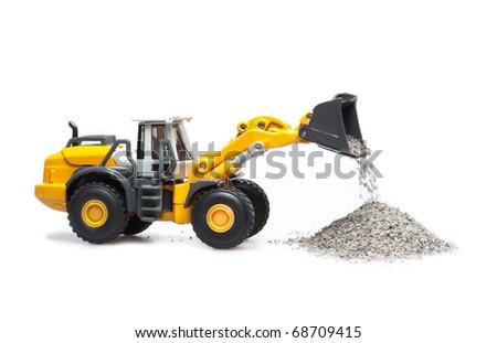toy bulldozer on a white background - stock photo