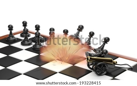 Toy cannon from white side shooting in enemy pawns on chessboard/Explosion on a position of the opponent - stock photo
