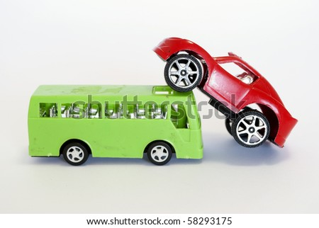 toy car and buss - stock photo