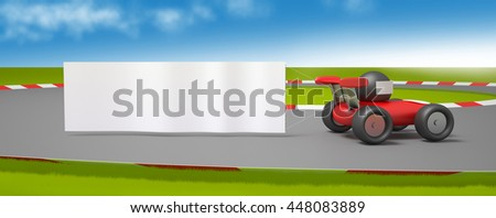 toy car banner 3D illustration - stock photo