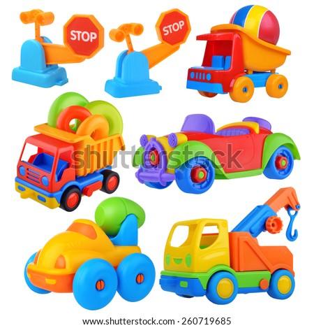 Toy car big set Isolated on white background - stock photo