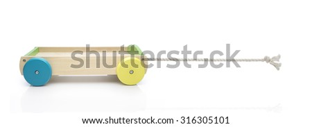 Toy car in concept traction. Clipping path on rope and truck - stock photo