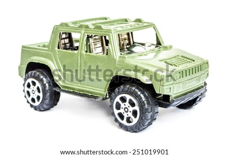 Toy car isolated on white - stock photo