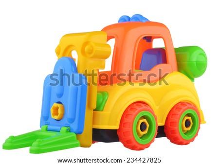 Toy car isolated on white background - stock photo