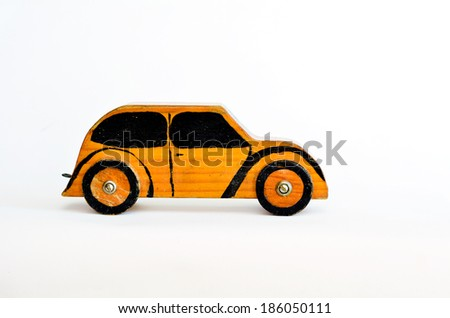 Toy car isolated on white background with copy space.Concept photo of car business, car Insurance, auto dealership,car rental ,safe driving ,buying, renting, fuel, service and repair costs - stock photo