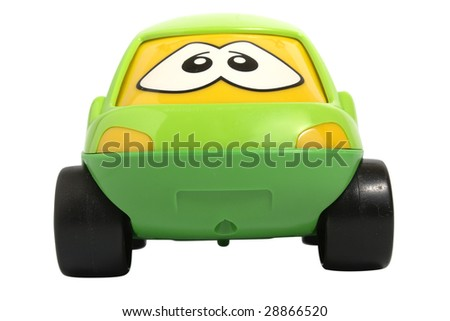 Toy car isolated on white with clipping path - stock photo