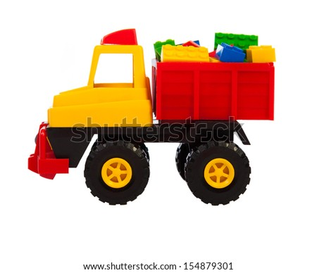 toy car the truck isolated on a white background - stock photo