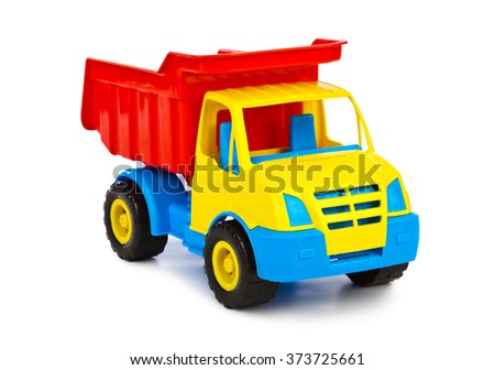Toy car truck isolated on white background - stock photo
