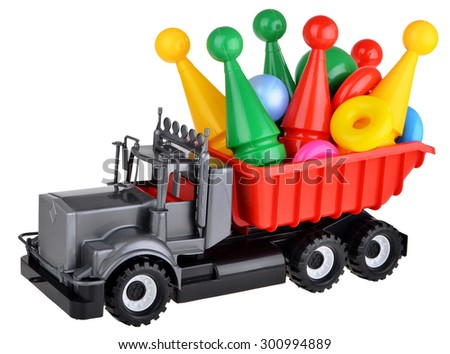 Toy car truck with bowling isolated on white background - stock photo
